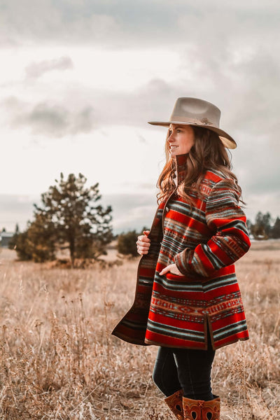 Red Striped Southwest Coat