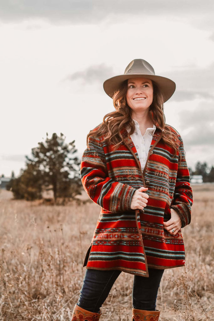red striped southwest coat large