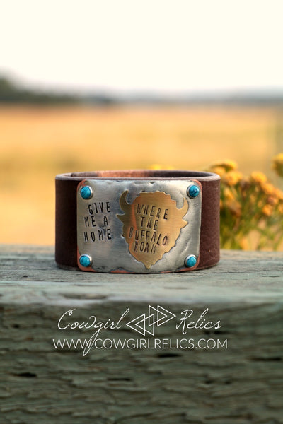 Where The Buffalo Roam Soldered Western Leather Cuff - Cowgirl Relics