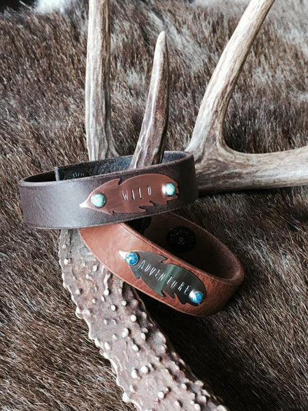 Stamped Feather Cuff Bracelet - Cowgirl Relics