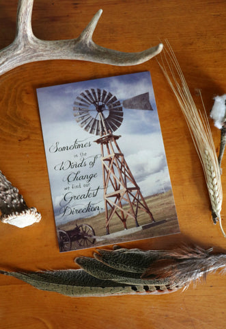 Inspirational Western Photo Art Card-Winds of Change, Windmill - Cowgirl Relics