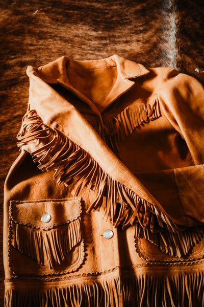 Vintage Leather Fringe Western Jacket