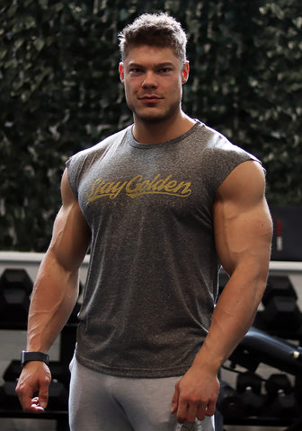Classic Sleeveless Shirt: Charcoal Black (Stay Golden) - Vintage Genetics