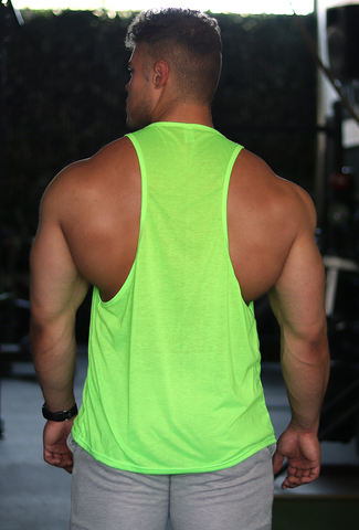 Tank with Dropped Armhole - Neon Green (Black VG)