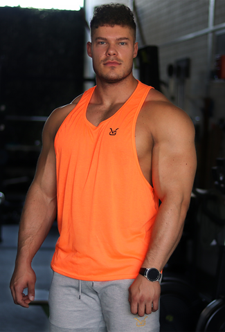 Tank with Dropped Armhole - Neon Orange (Black VG)