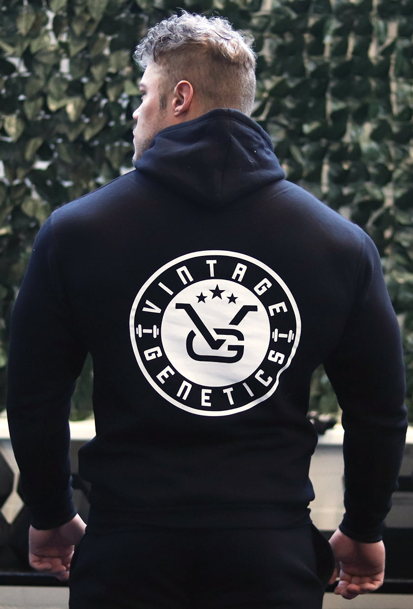 Vintage Hooded Sweater: Black (VG Logo) - Vintage Genetics