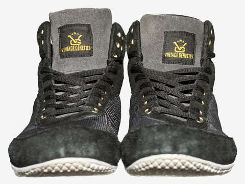 High-Top VG Shoes: Stay Golden (Black/Steel Gray/Gold) - Vintage Genetics