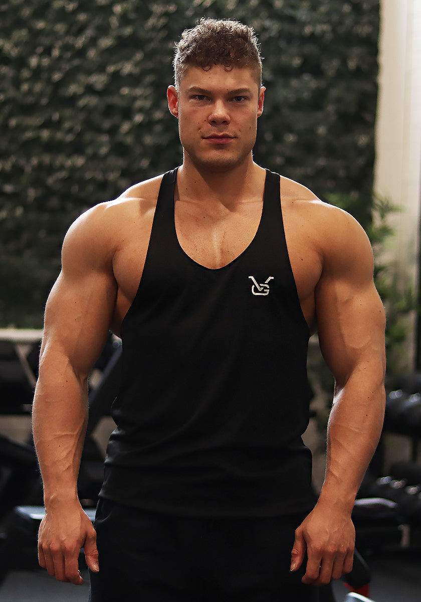 Gym Stringer: Black (VG Logo) - Vintage Genetics