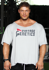 Vintage Scoop Neck Oversized Tee - Grey - Vintage Genetics