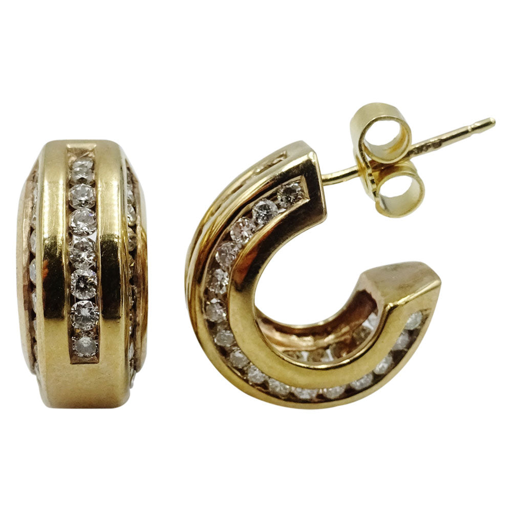 9ct Yellow Gold 375 Stamped 0.40ct Diamond All Round Ladies Hoop Earrings - Richard Miles Jewellers