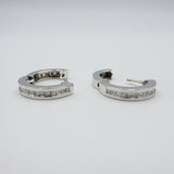 9ct White Gold  Diamond Princess Ladies Huggie SI2 G 0.52ct Earrings - Richard Miles Jewellers