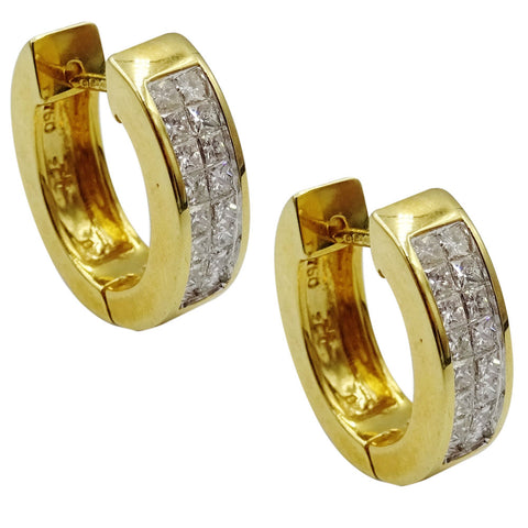 18ct Yellow Gold Clarity SI Colour G 1ct Diamond Luxury Ladies Hoop Earrings - Richard Miles Jewellers