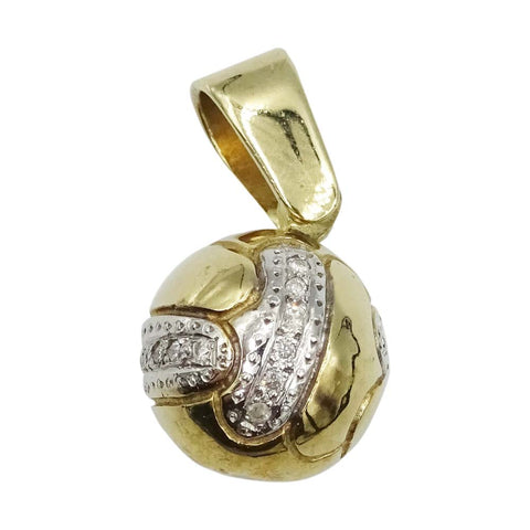 9ct Yellow Gold Football Diamond Pendant