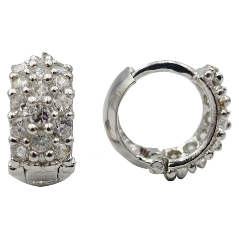 9ct White Gold 375 Hall Marked Cubic Zirconia Set Ladies Hoop Cuff Earrings 11mm - Richard Miles Jewellers