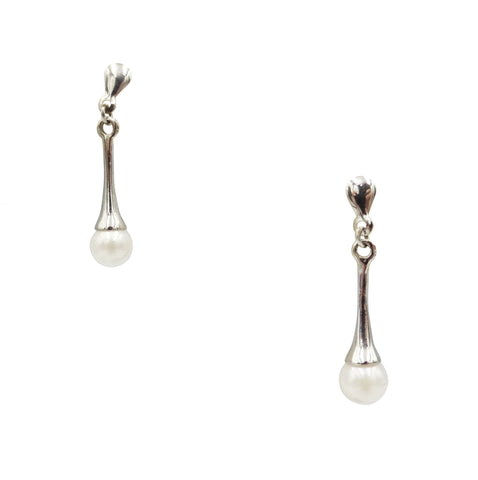 9ct White Gold Ladies Cultured Pearl Drop Earrings 1.8g