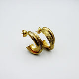 9ct Yellow GOld 375 Stamped Smooth & Hammered Style Ladies Stud Earrings - Richard Miles Jewellers