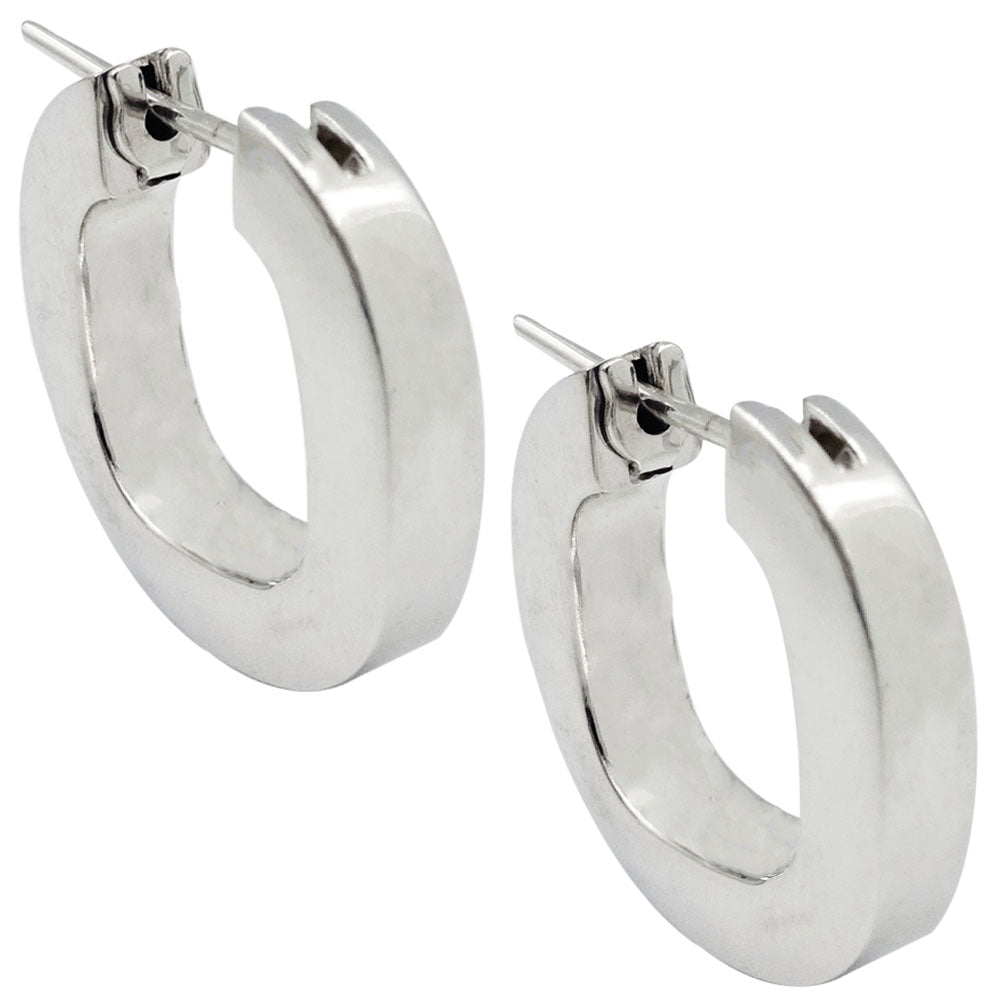 18ct White Gold 750 Stamped Quality Smooth Medium Size Ladies Hoop Earrings 5.1g - Richard Miles Jewellers