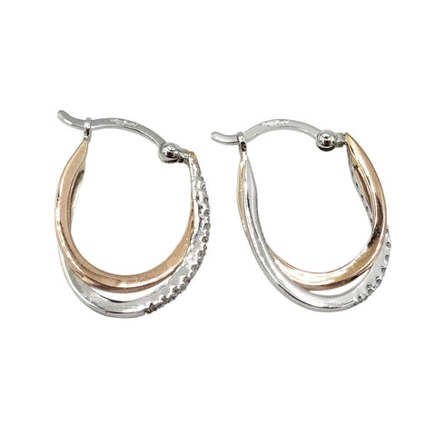 9ct White & Rose Gold Ladies Diamond Hoop Earrings 2.2g - Richard Miles Jewellers