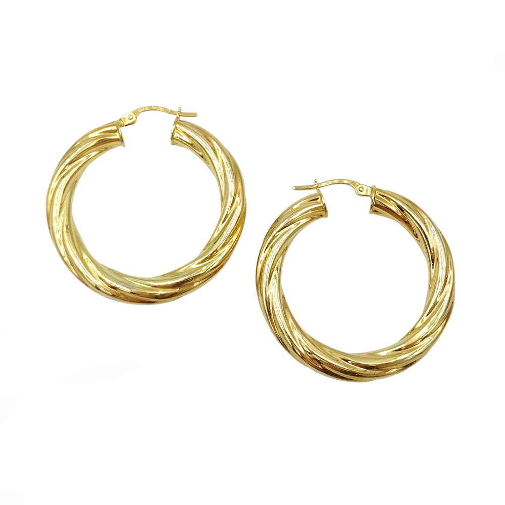 9ct Yellow Gold Chunky Creole Twisted Hoop Earrings 3.4g - Richard Miles Jewellers