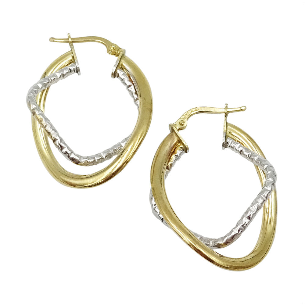 9ct 2 Colour Gold Square & Oval Double Hoop Earrings 3g - Richard Miles Jewellers
