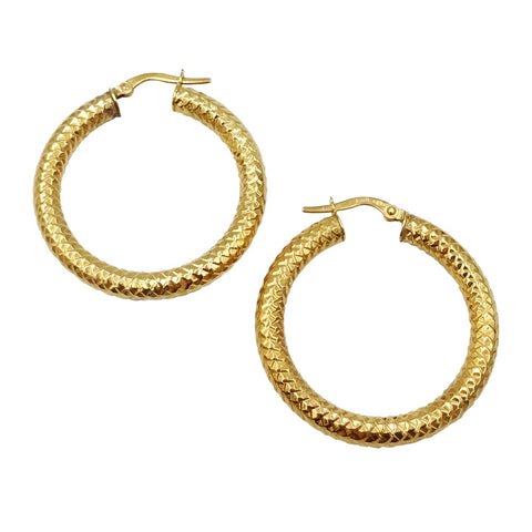 9ct Fancy Edge Diamond Hoop Earrings 30mm - Richard Miles Jewellers
