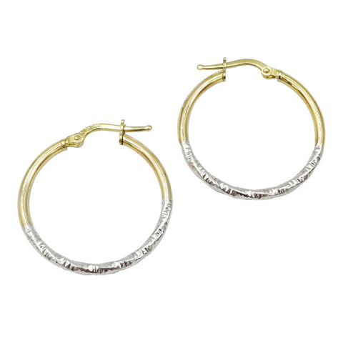 9ct 2 Colour Gold Half Pattern Hoop Earrings 1.6g - Richard Miles Jewellers
