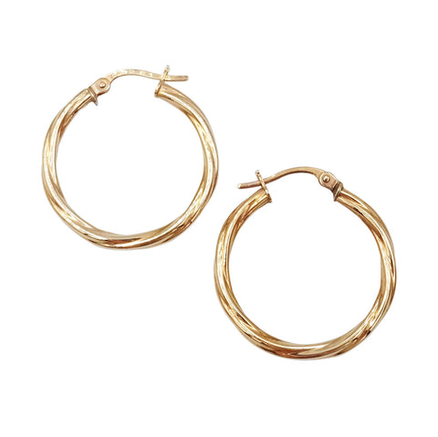9ct Rose Gold Creole Rope Twist Hoop Earring 1.2g - Richard Miles Jewellers