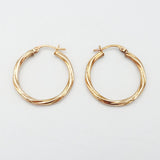 9ct Rose Gold Creole Rope Twist Hoop Earrings - Richard Miles Jewellers
