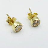 9ct Yellow Gold Round Stud Earrings Set With Cubic Zirconia - Richard Miles Jewellers