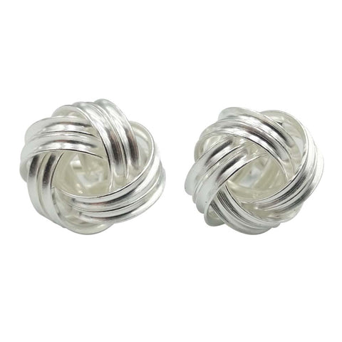 Sterling Silver Large Knot Stud Earrings