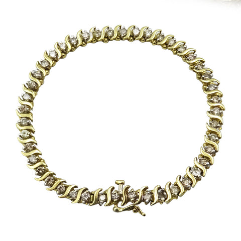 10kt Yellow Gold Diamond Ladies Tennis Bracelet 4.3ct
