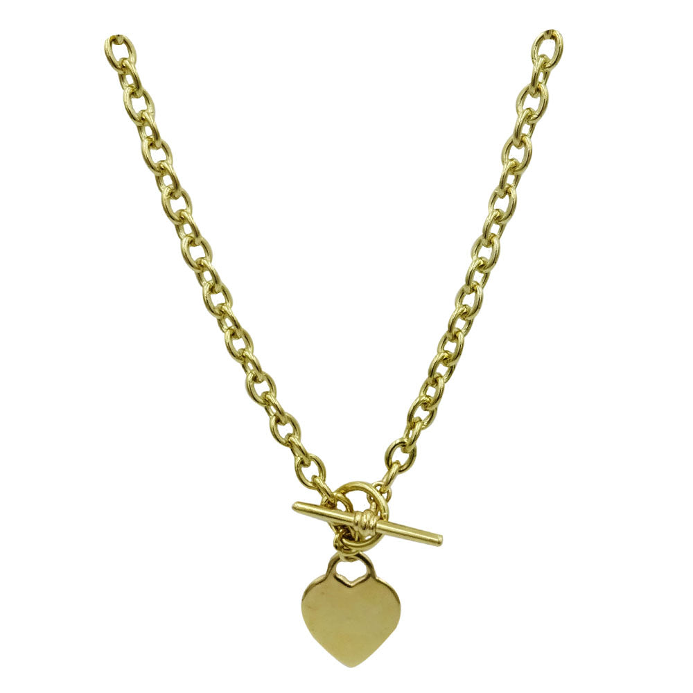 9ct Yellow Gold 375 Hall Marked Solid T Bar Heart Charm Chain 36.7g 16inch - Richard Miles Jewellers