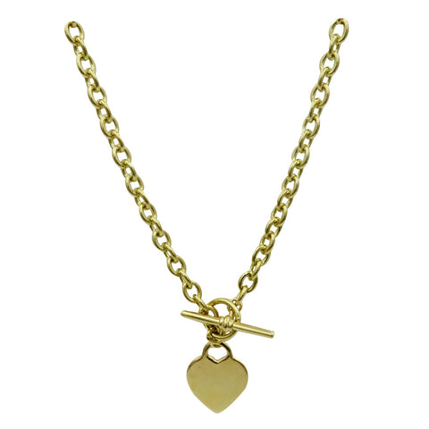 9ct Yellow Gold 375 Hall Marked Solid T Bar Heart Charm Chain 36.7g 16inch