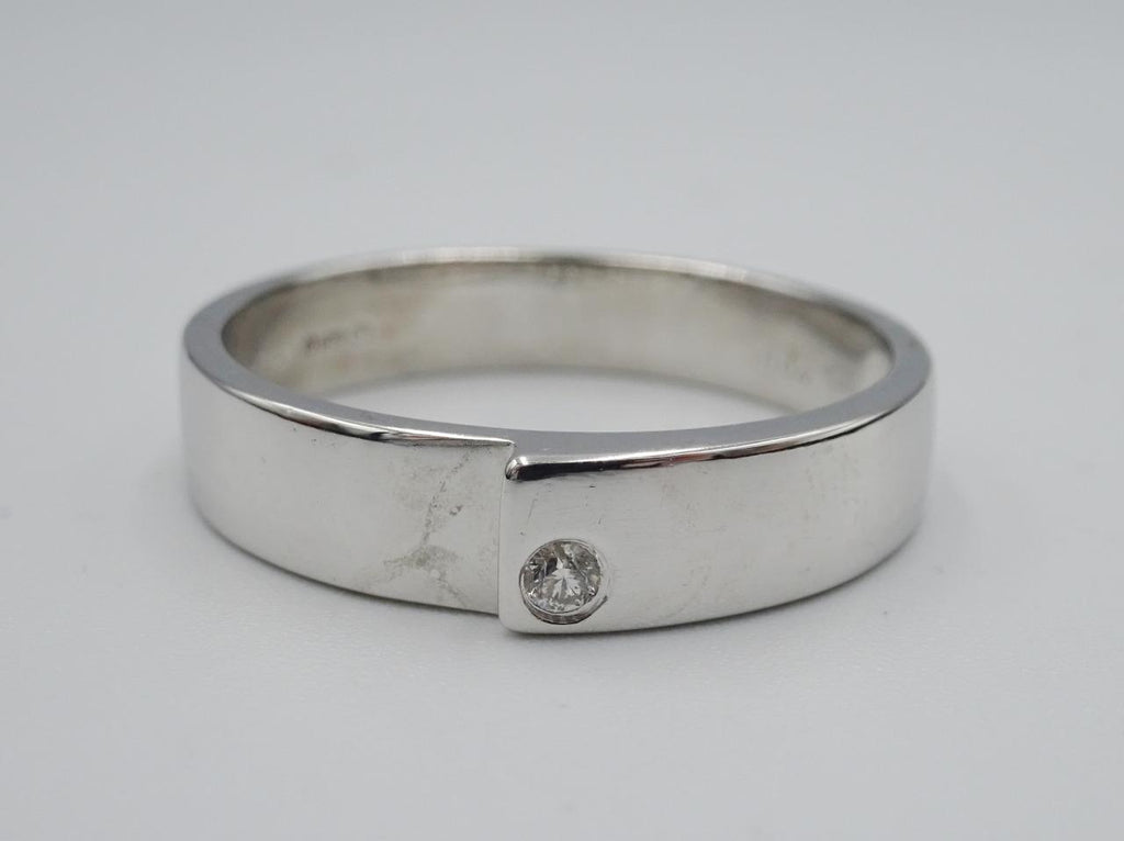 18ct White Gold Diamond Matching Overlap Wedding Ring Band .04ct Size U 5.3g - Richard Miles Jewellers