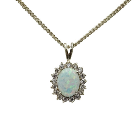 "Silver Ladies Opal CZ Cluster Oval Pendant 18"" Chain"