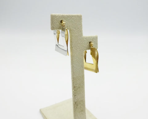9ct White and Yellow Gold Double Sided Earrings