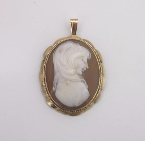 9ct Yellow Gold Vintage Large Authentic Shell Cameo Pendant - Richard Miles Jewellers
