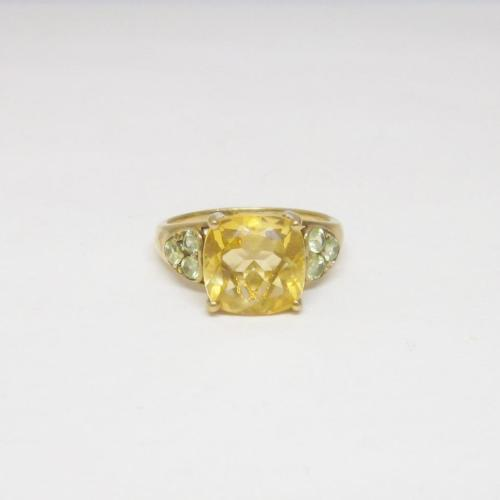 9ct Yellow Gold Ladies Orange Citrine Stone Ring Size N 3.6g - Richard Miles Jewellers