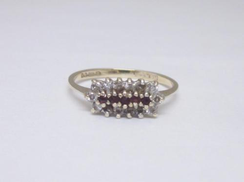 9ct Yellow Gold Ladies Ruby and Stone Set Cluster Ring Size N - Richard Miles Jewellers