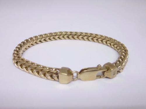 9ct Yellow Gold Ladies Franco Heavy Bracelet 7 inches 27 Grams - Richard Miles Jewellers