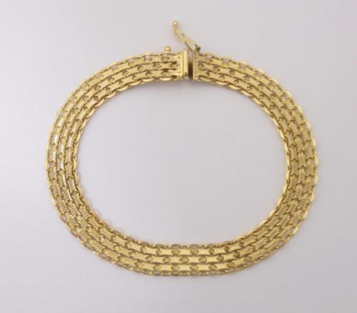 9ct Yellow Gold Flat 3 Row Fancy Link Bracelet 10.3 Grams - Richard Miles Jewellers