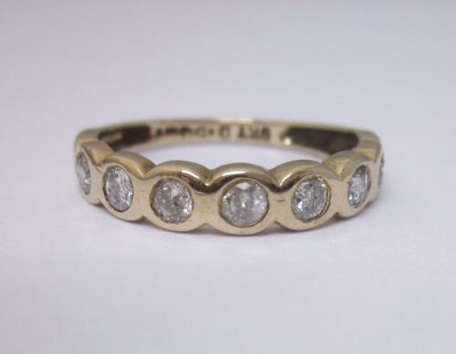 9ct Yellow Gold Vintage 0.50 ct Diamond Half Eternity Ring Size M 1/2