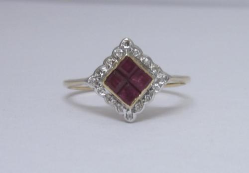 9ct Yellow Gold Vintage Ladies Ruby and Diamond Ring Size M - Richard Miles Jewellers