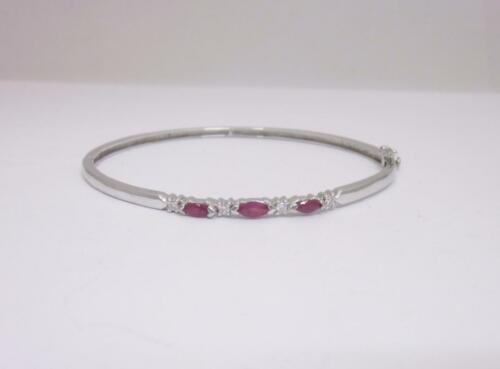 9ct White Gold Diamond and Marquise Cut Ruby 0.12ct Bangle 7inch - Richard Miles Jewellers