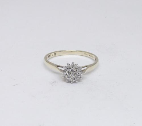 9ct Yellow Gold Cluster Ladies 0.15ct Diamond Ring Size P