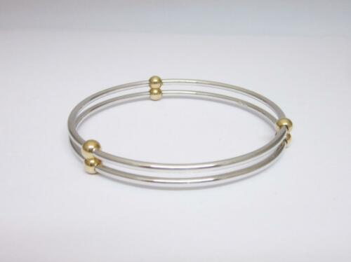 9ct Yellow White Gold Ladies Hallmarked Two Row Solid Bangle 27.5g 8 inch New - Richard Miles Jewellers