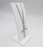 Sterling Silver Matt Finish Cubic Zirconia Set Cross With Chain 16inch 7.7g - Richard Miles Jewellers