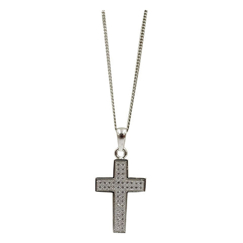 Sterling Silver Cubic Zirconia Pave Set Cross Pendant Fine Curb Chain 16inch 2.7g - Richard Miles Jewellers