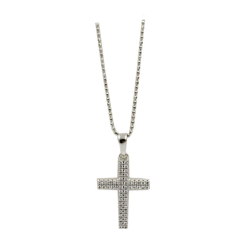 Sterling Silver Cubic Zirconia Set Cross Neckace 20inch 3g 26mm - Richard Miles Jewellers