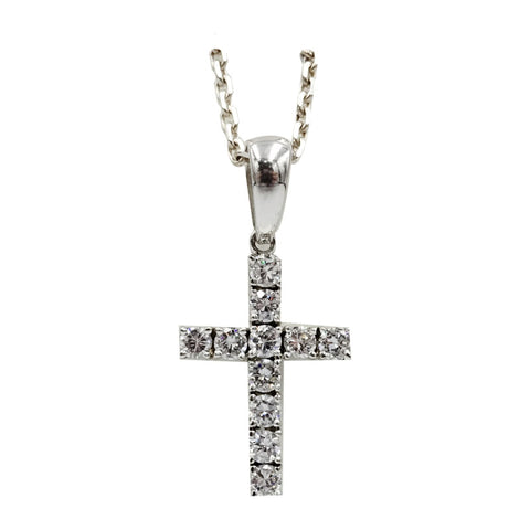 Sterling Silver Cubic Zirconia Set Cross Pendant Diamond Cut Belcher Necklace 21inch - Richard Miles Jewellers